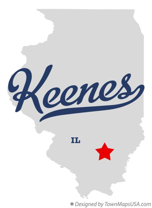 Map of Keenes Illinois IL