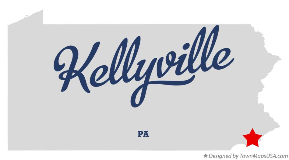 Map of Kellyville Pennsylvania PA