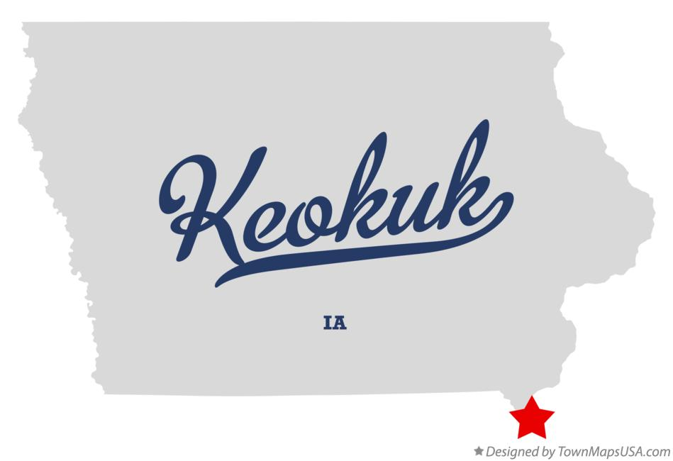 Map of Keokuk Iowa IA