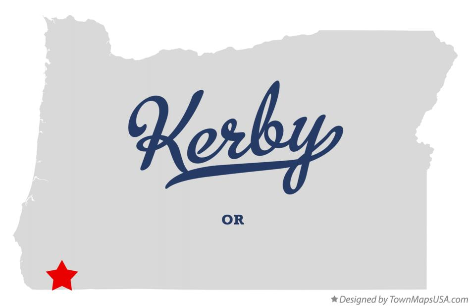 Map of Kerby Oregon OR