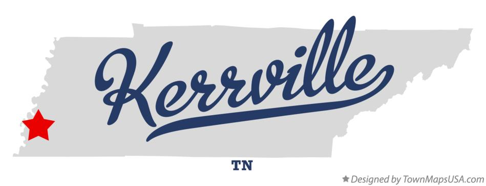 Map of Kerrville Tennessee TN