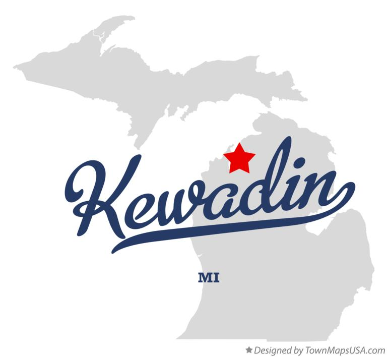 Map of Kewadin Michigan MI