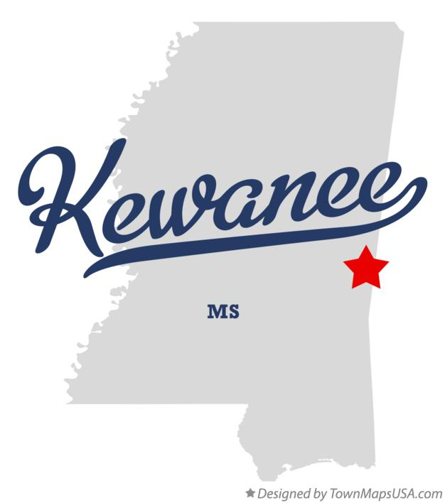 Map of Kewanee Mississippi MS