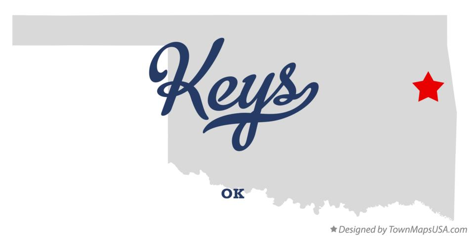 Map of Keys Oklahoma OK
