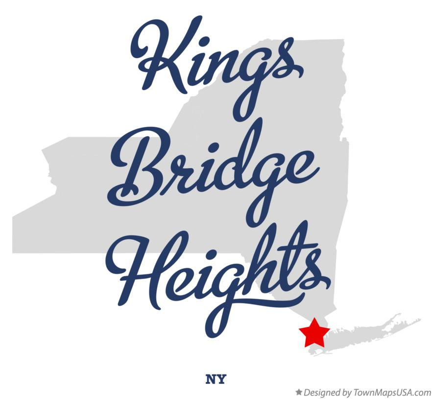 Map of Kings Bridge Heights New York NY