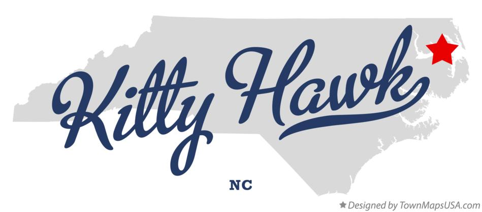 Map of Kitty Hawk North Carolina NC