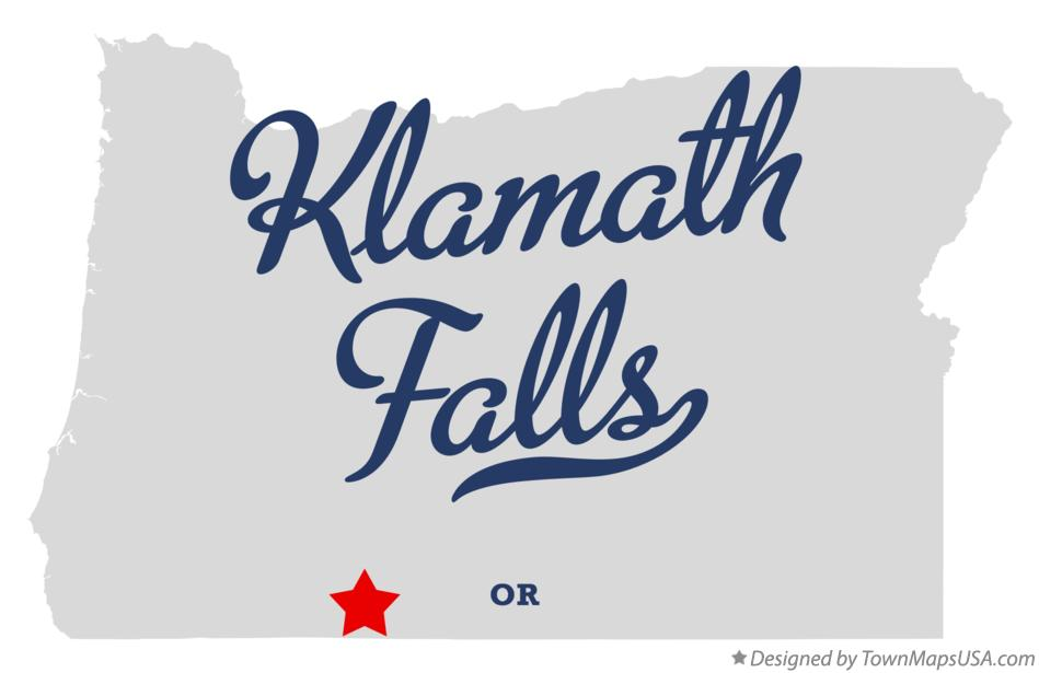 Map of Klamath Falls, OR, Oregon