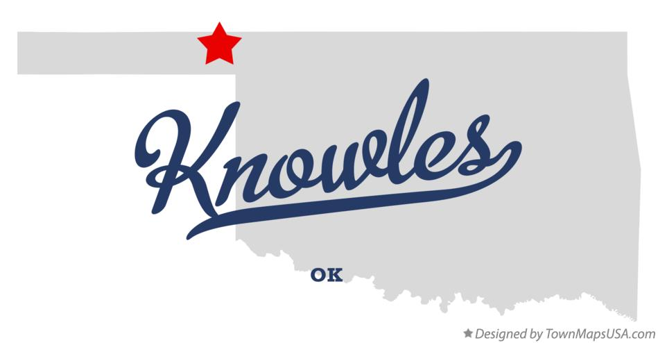 Map of Knowles Oklahoma OK