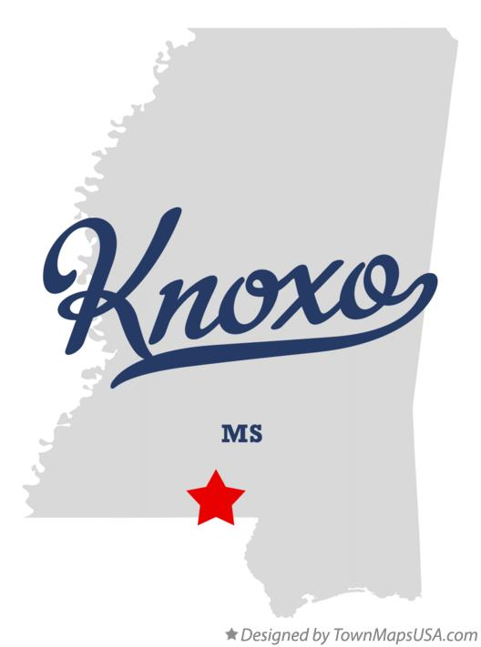 Map of Knoxo Mississippi MS