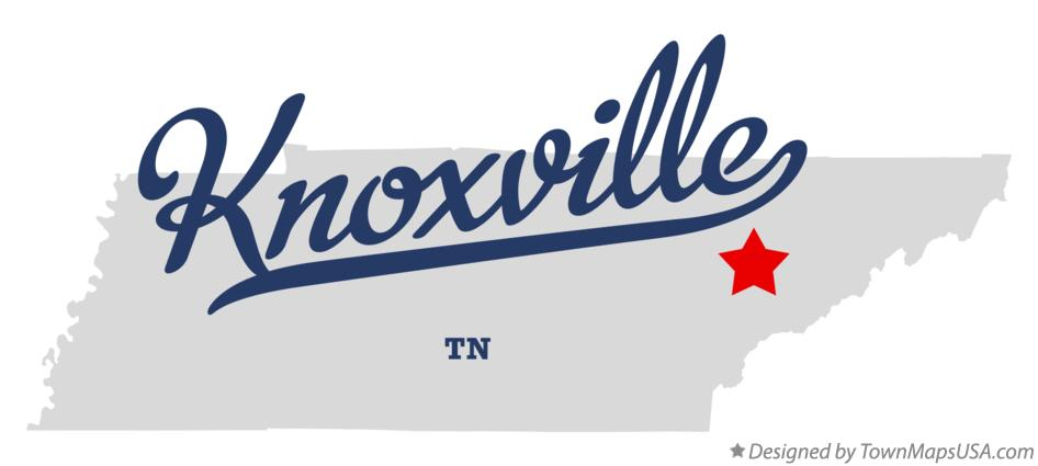 Map of Knoxville Tennessee TN