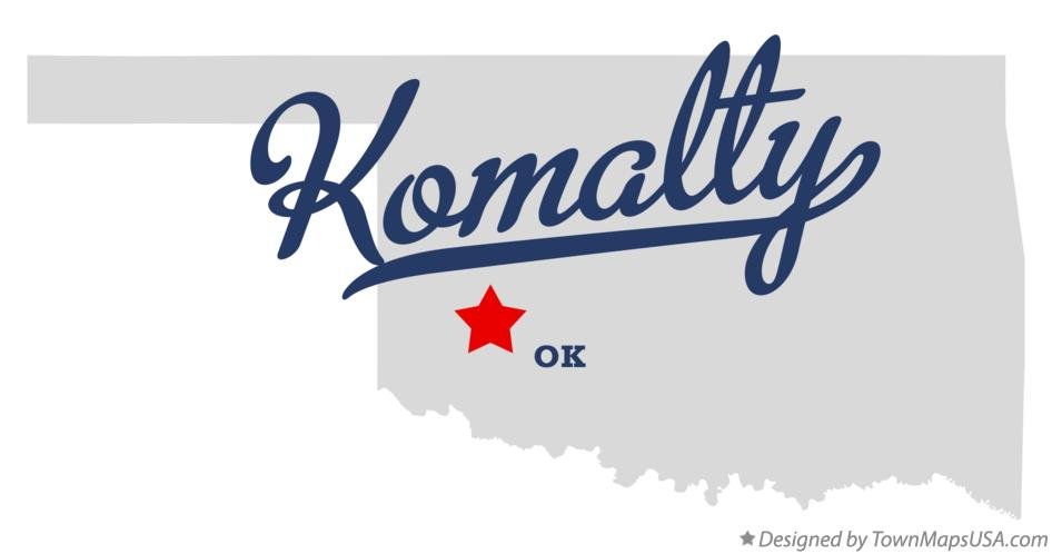 Map of Komalty Oklahoma OK