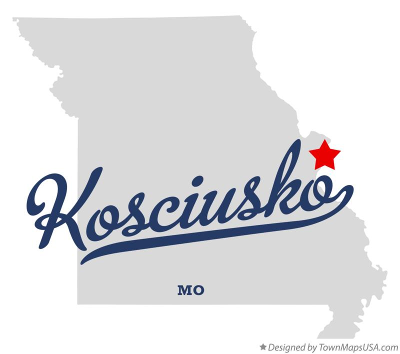 Map of Kosciusko Missouri MO