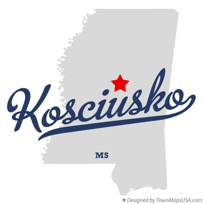 Map of Kosciusko Mississippi MS