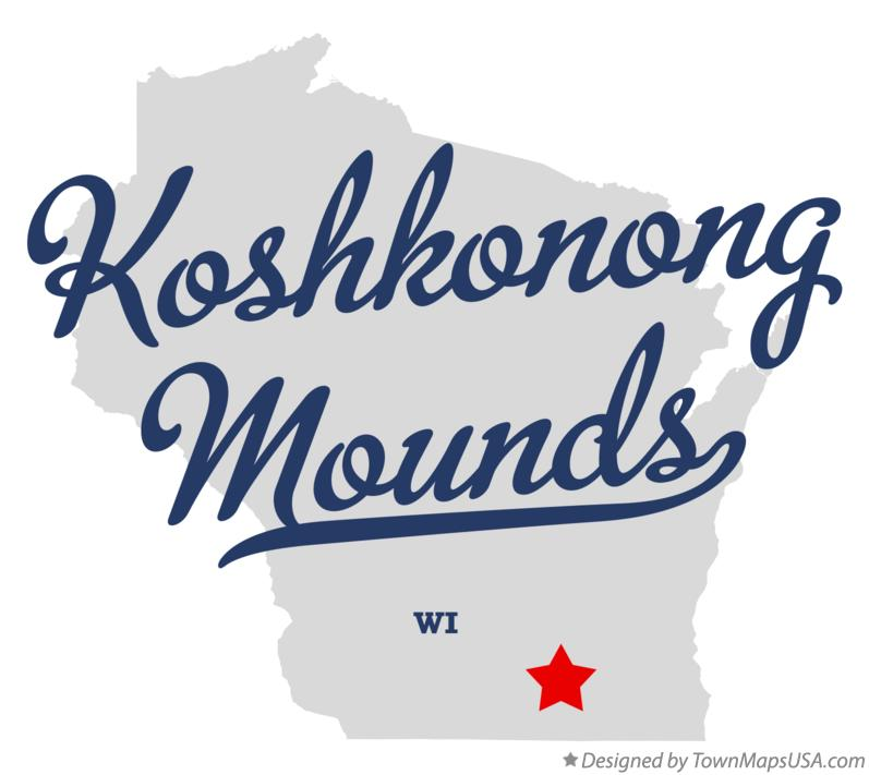 Map of Koshkonong Mounds Wisconsin WI
