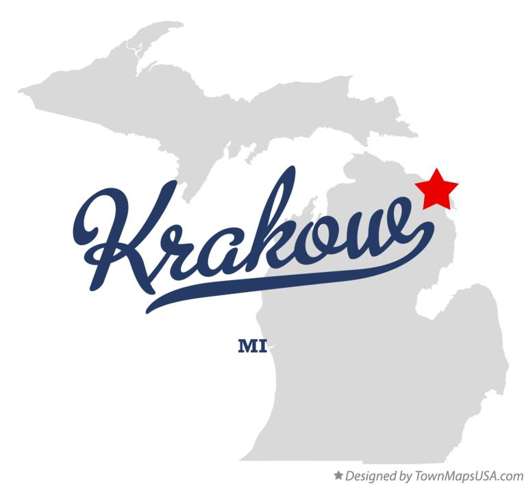 Map of Krakow Michigan MI