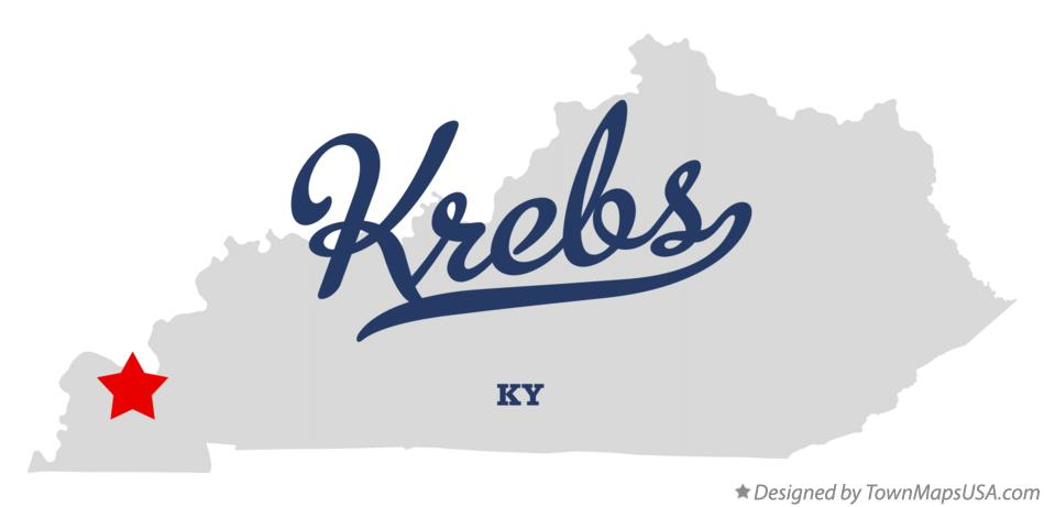 Map of Krebs Kentucky KY