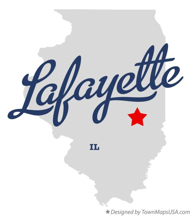 Map of Lafayette Illinois IL