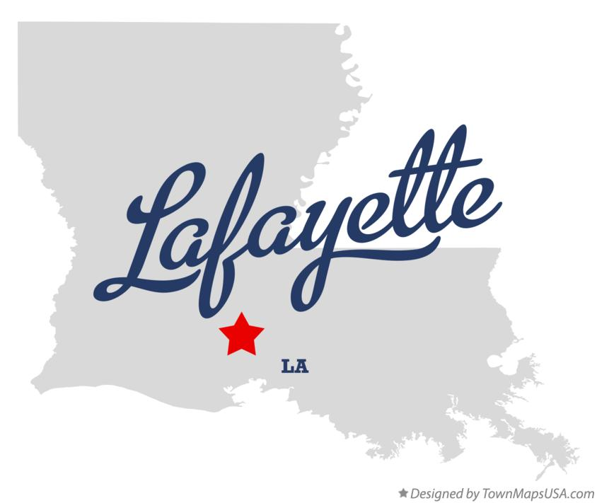 Map of Lafayette Louisiana LA