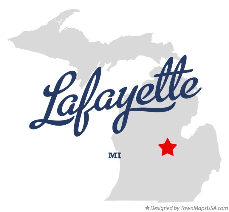 Map of Lafayette Michigan MI