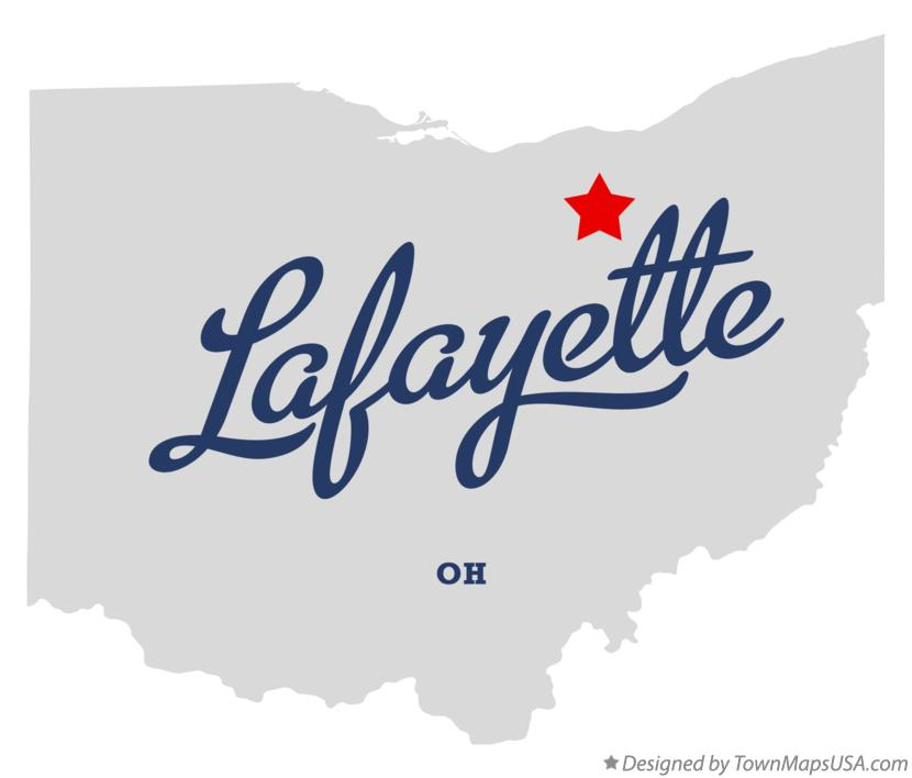 Map of Lafayette Ohio OH