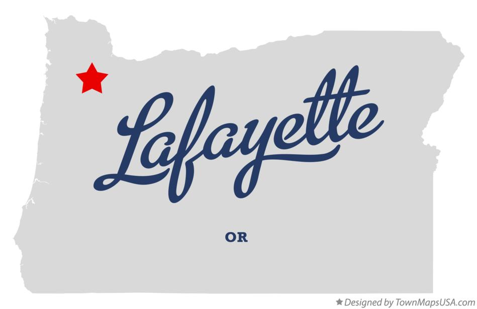 Map of Lafayette Oregon OR