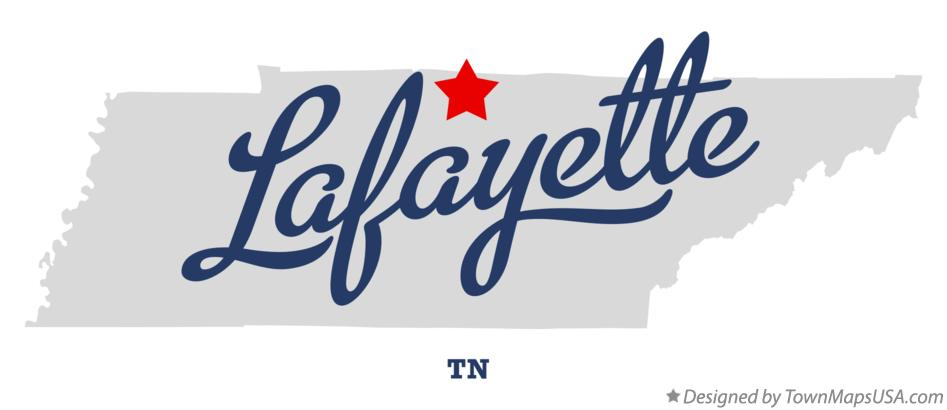 Map of Lafayette Tennessee TN