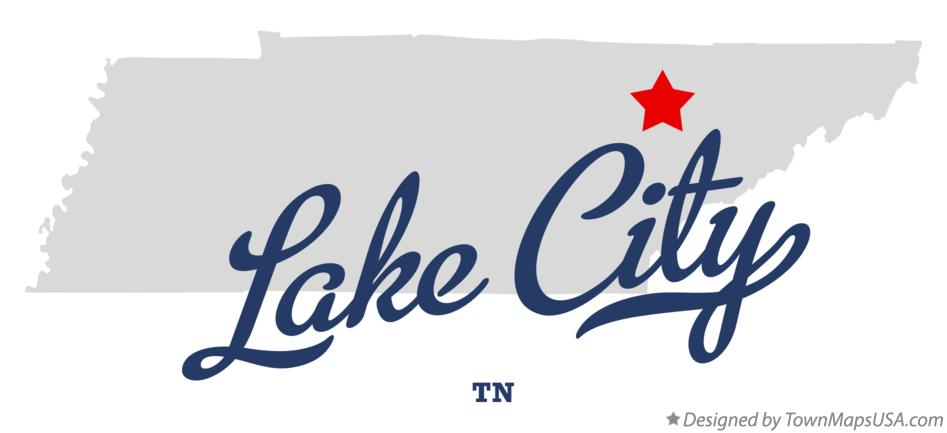 Map of Lake City Tennessee TN