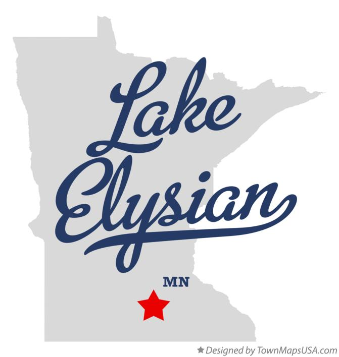 Map of Lake Elysian Minnesota MN