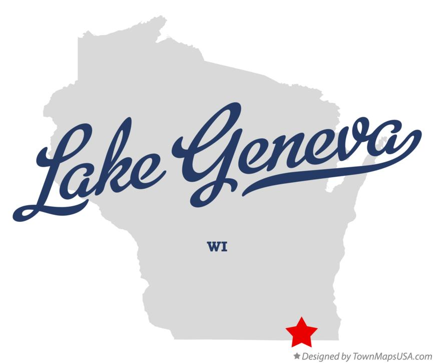 Map of Lake Geneva Wisconsin WI