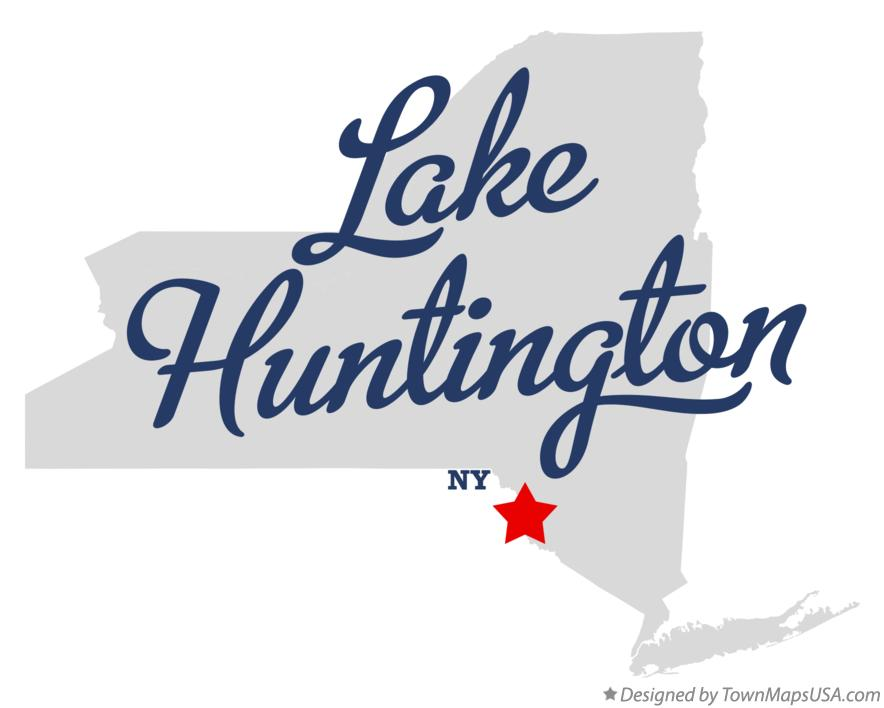 Map of Lake Huntington New York NY