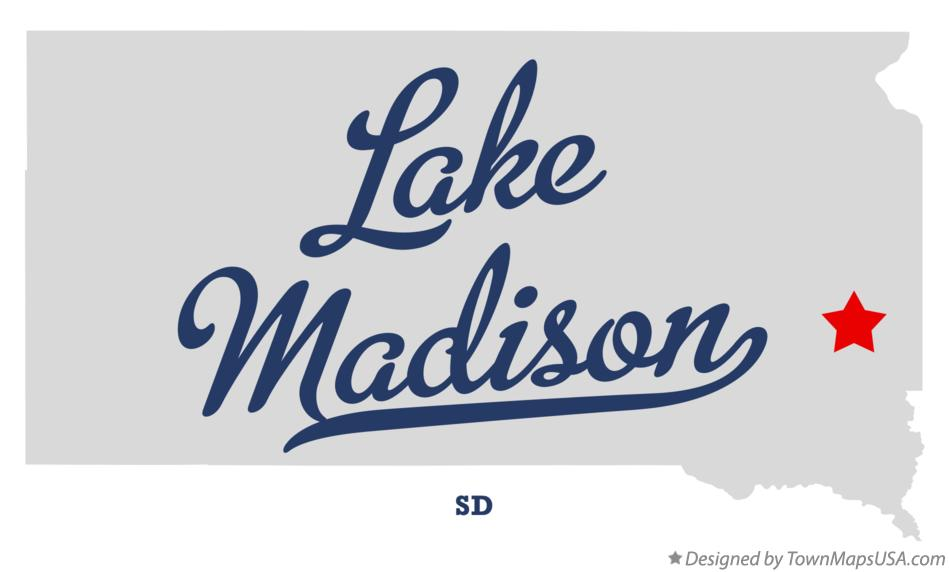 Map of Lake Madison South Dakota SD
