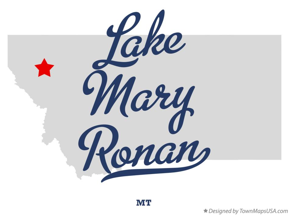 Map of Lake Mary Ronan Montana MT