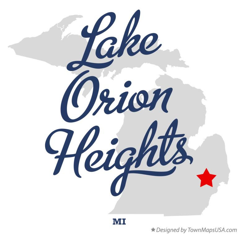 Map of Lake Orion Heights Michigan MI