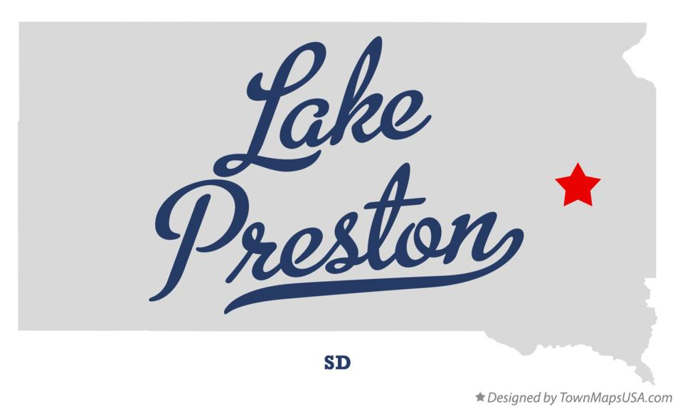 Map of Lake Preston South Dakota SD