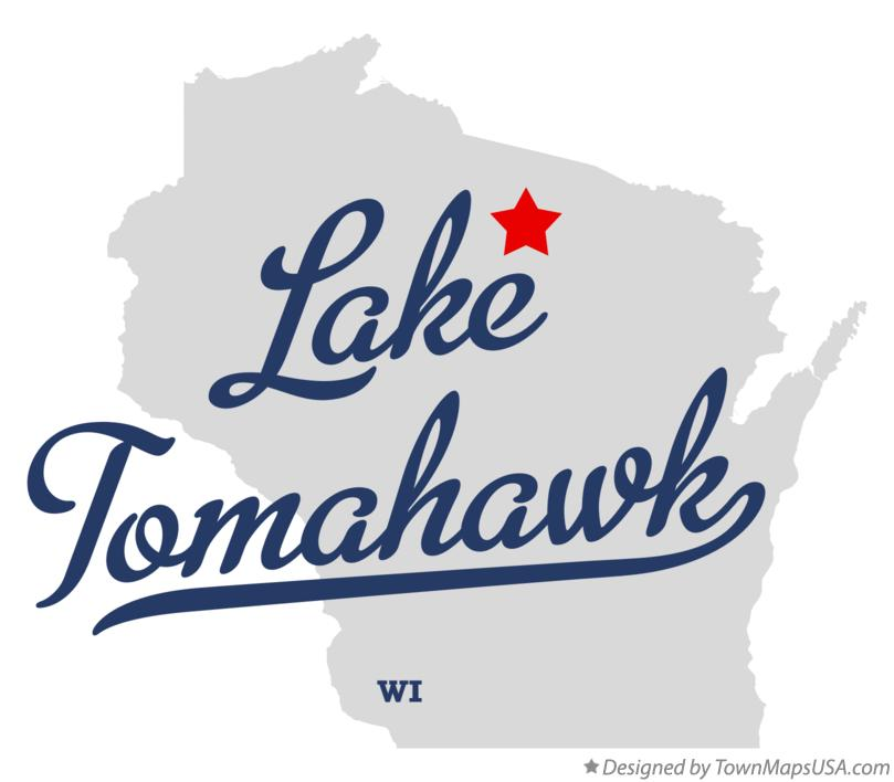 Map of Lake Tomahawk Wisconsin WI
