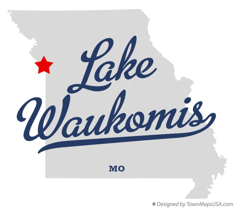 Map of Lake Waukomis Missouri MO
