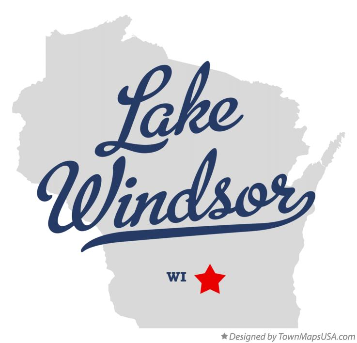 Map of Lake Windsor Wisconsin WI