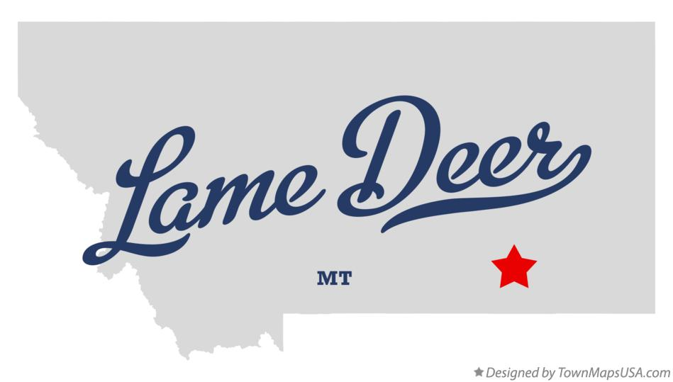 Map of Lame Deer Montana MT