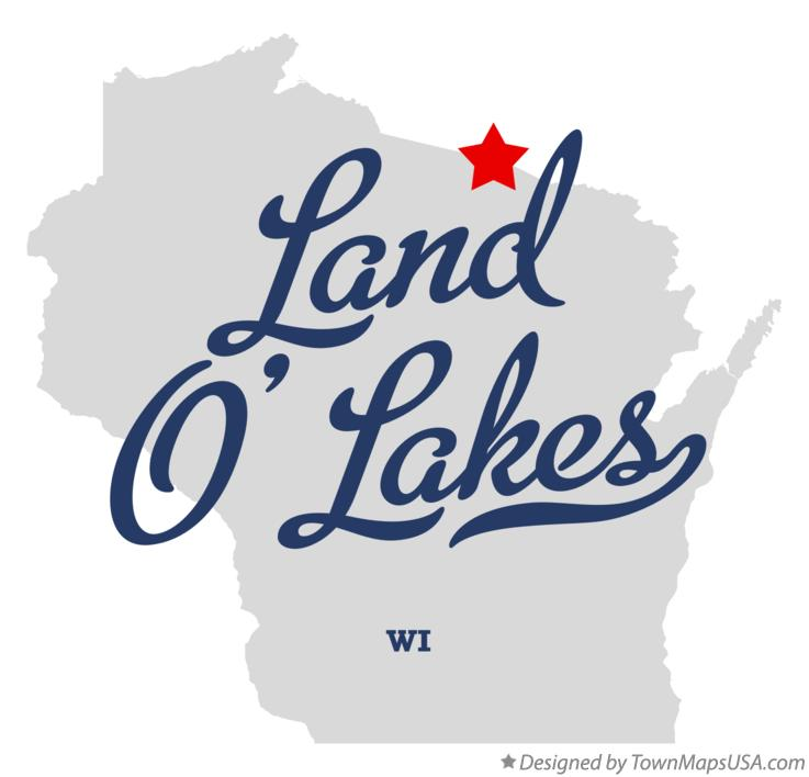 Map of Land O' Lakes Wisconsin WI