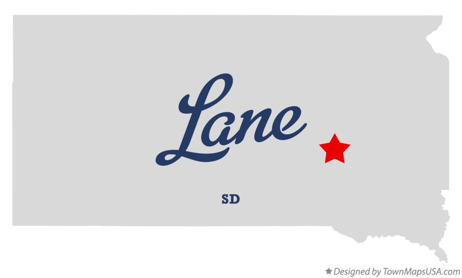 Map of Lane South Dakota SD