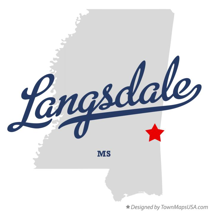 Map of Langsdale Mississippi MS
