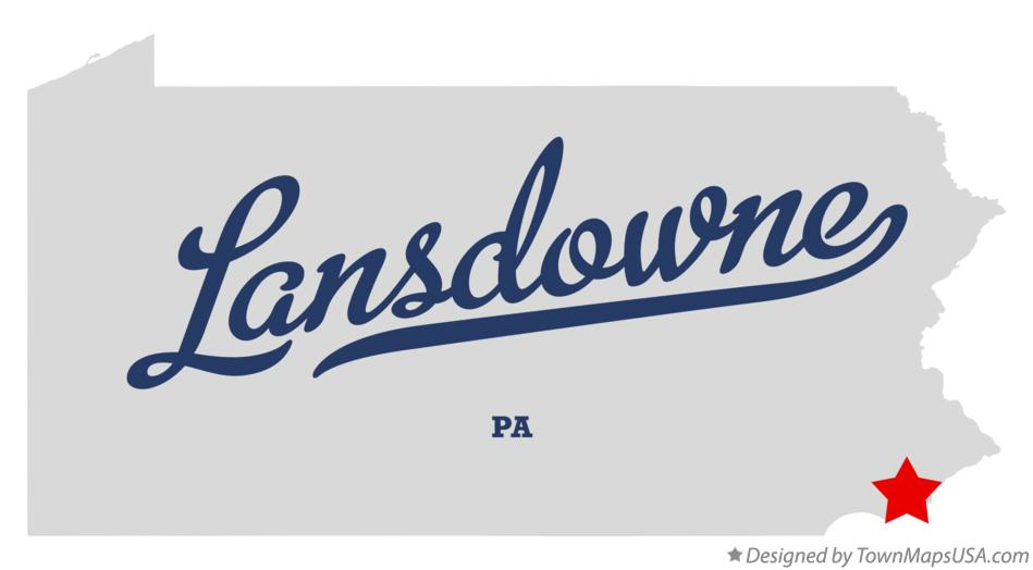 Map of Lansdowne Pennsylvania PA