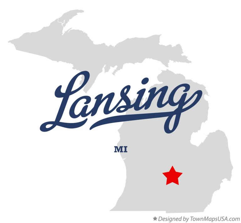 Map of Lansing MI Michigan