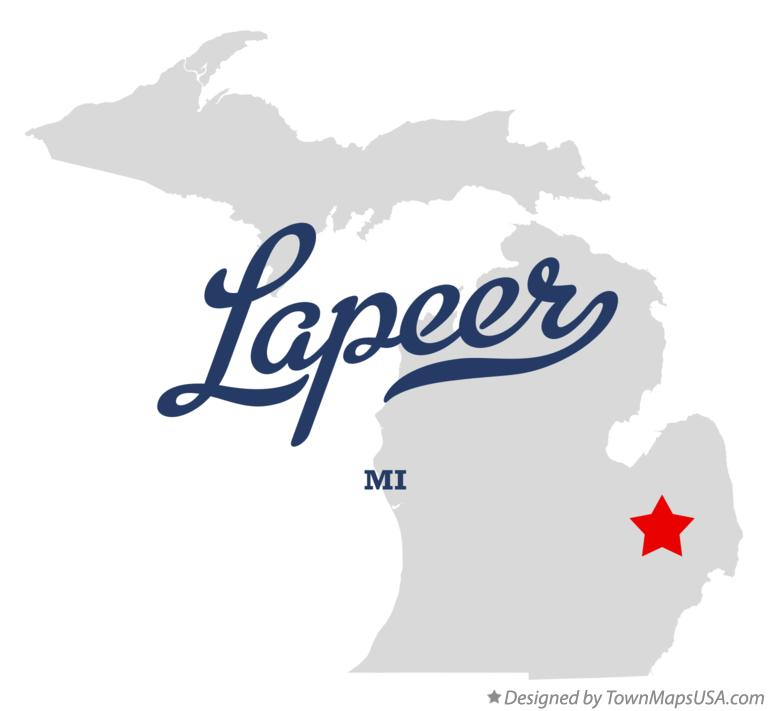 Map of Lapeer Michigan MI