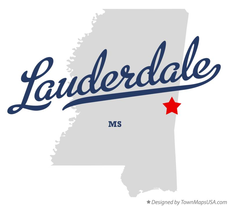 Map of Lauderdale Mississippi MS