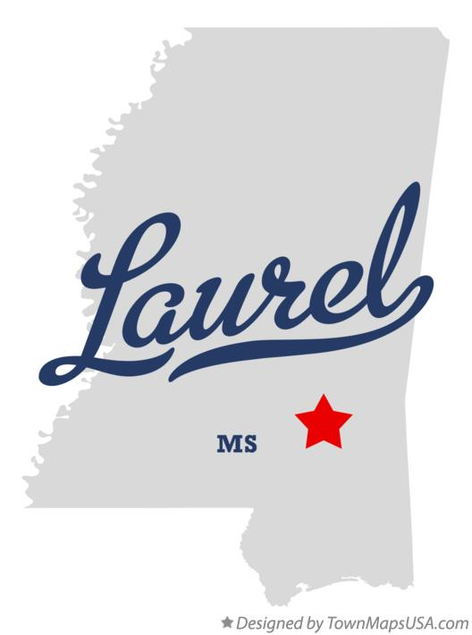 Map of Laurel Mississippi MS