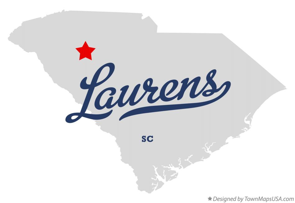 Map of Laurens South Carolina SC