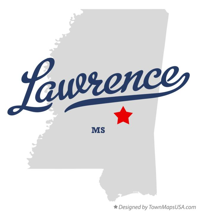 Map of Lawrence Mississippi MS