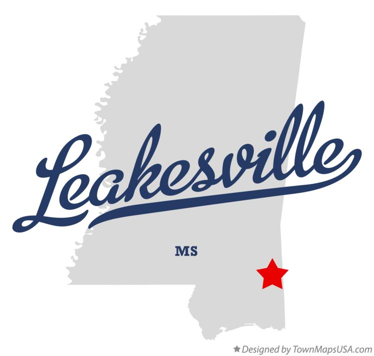 Map of Leakesville Mississippi MS