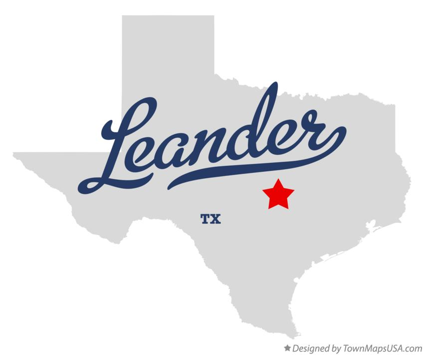Map of Leander Texas TX